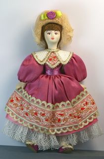 Doll pendant souvenir porcelain. Costume on motives of secular fashion. 19th century, Western Europe.