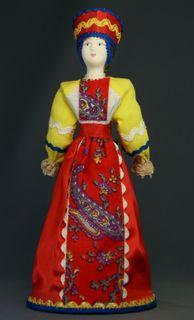 Doll gift porcelain. Russia. Women's festive costume.