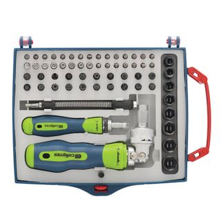 Reversion screwdriver set with bits and end nozzles, 61concepts, SIBBTECH, CrV, plastic box