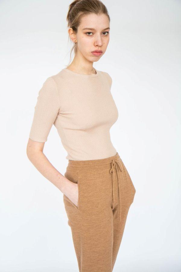 Sweater short sleeve beige womens, TRICARDO