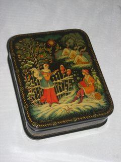 """Palekh lacquer miniature. Stash Bag """"Walking"""""""