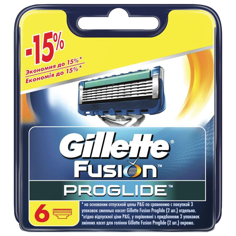 Replacement shaving cassettes 6 pcs. GILLETTE Fusion ProGlide, for men