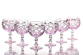 Set of crystal glasses for cognac pink 6 pieces