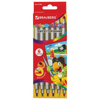The markers are double-sided BRAUBERG 6 colors, writing nodes 2 and 5 mm, ventilated cap, carton packaging