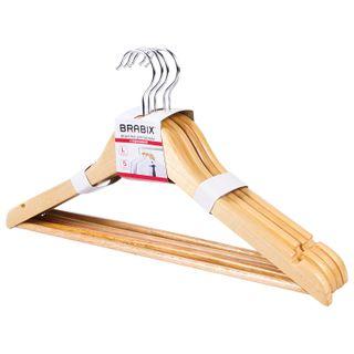 BRABIX / Coat hangers, size 48-50, SET 5pcs, wooden, crossbar, pine color, BRABIX