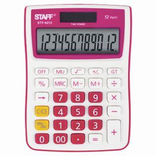 Desktop calculator STAFF STF-6212, COMPACT (148x105 mm), 12 digits, dual power supply, RASPBERRY, blister