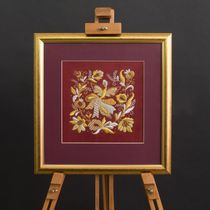 Panels handmade embroidery 'Spring' Burgundy with gold embroidery