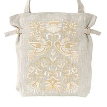 Linen bag 'birdsong' grey with gold embroidery
