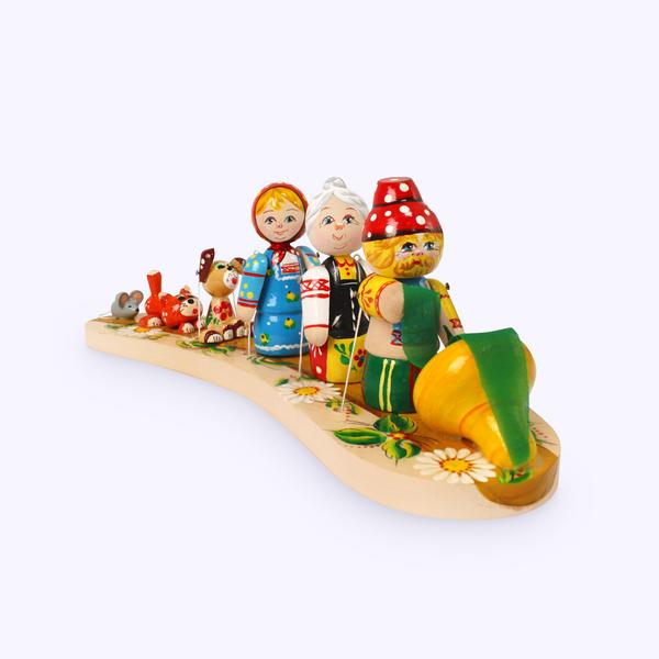 Bogorodskaya toy / Wooden souvenir 'Pull-pull'