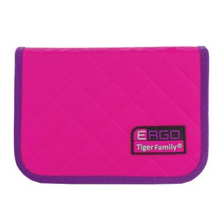Pencil case TIGER FAMILY, with filling, 1 compartment, 2 folding straps, 31 object, pink-purple, 20х14х4 cm