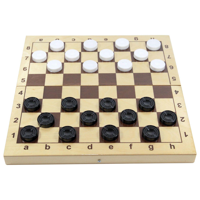 "Game board ""Checkers"", plastic chips, wooden board 30 x30, 10 KINGDOM"