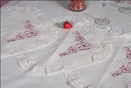 Napkin 'Violets' with embroidery