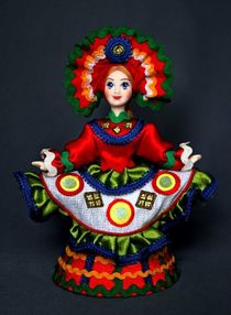 Doll gift porcelain. Dancer. Costume on motives of Dymkovo toys. Russia.