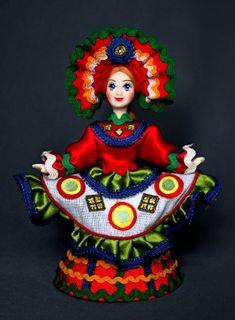 Doll gift porcelain. Dancer. Costume on motives of Dymkovo toys. Russia.