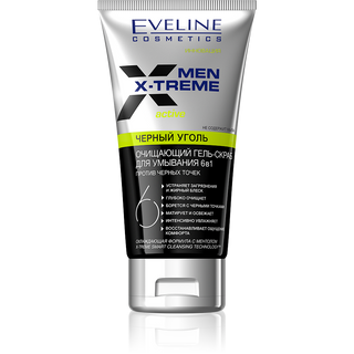 Black coal - cleansing gel-scrub cleanser 6в1 against blackheads series men x-treme active, Eveline, 150 ml