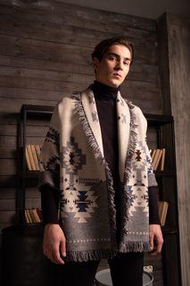 Jacket men's Merino with strap, color: cream, light gold, beige, TRICARDO, one-size