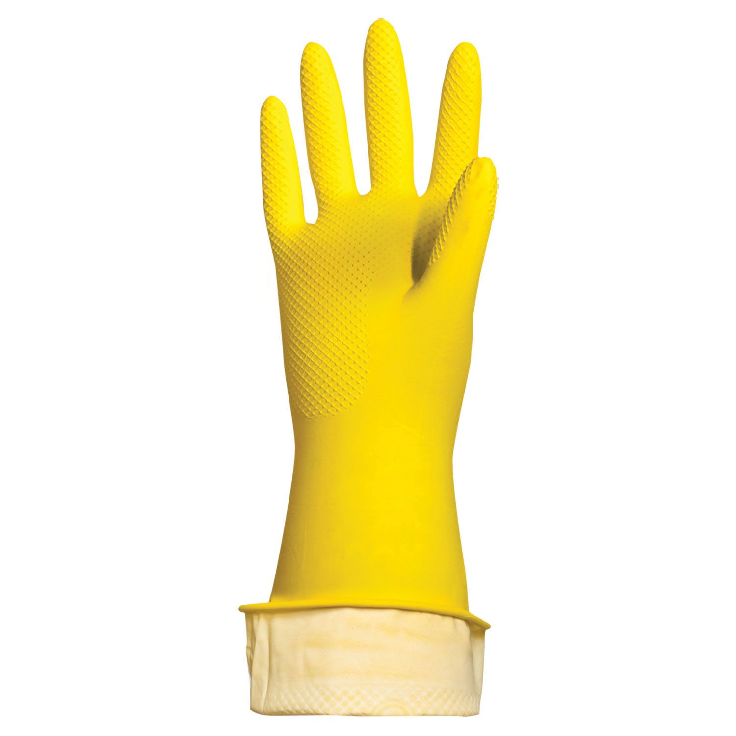 LYUBASHA / Latex household gloves ECONOMY, REUSABLE, cotton dusting, size M (medium)