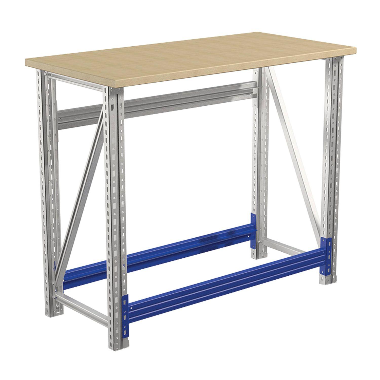 """PRAKTIK / Metal workbench """"Master"""" No. 102, 900x1000x500 mm, plywood tabletop"""