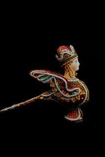 Souvenir doll: Bird Alkonost. Folklore character.