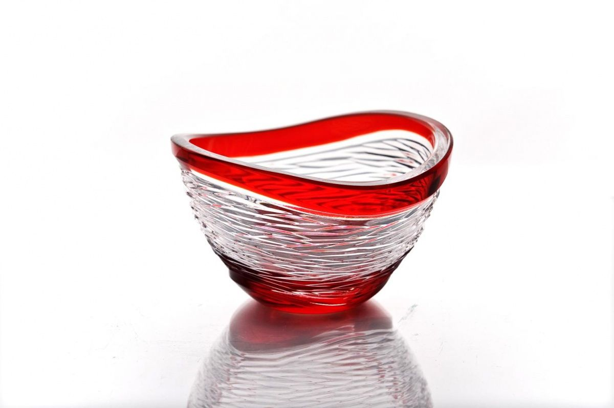 "Crystal vase for sweets ""Serenade"" red"