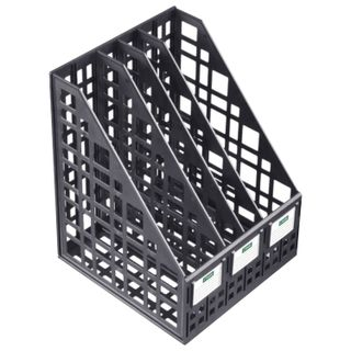 Tray vertical paper of STAMM (245х240х300 mm), 4 compartments, mesh, collapsible, black