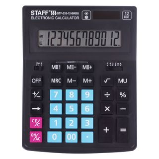 Desktop calculator STAFF PLUS STF-333-BKBU (200x154 mm) 12 digits, BLACK-BLUE