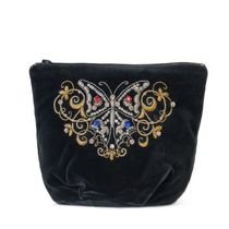 Velvet cosmetic bag 'Butterfly' in black with gold embroidery