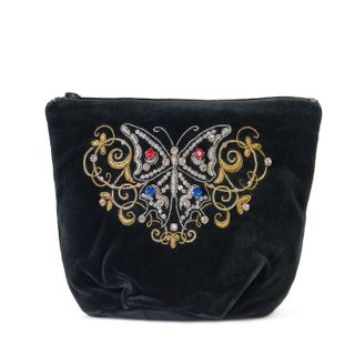 "Velvet cosmetic bag ""Butterfly"" in black with gold embroidery"