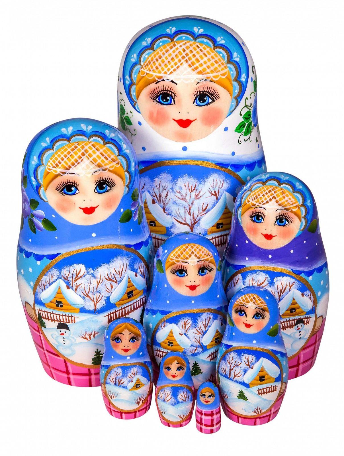 Khokhloma painting / Author's Matryoshka 8 dolls