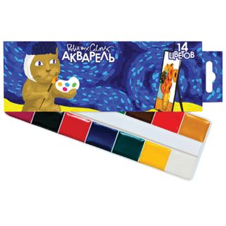 Watercolor POLIPAX 14 colors, honey, without a brush, cardboard box, Euro slot