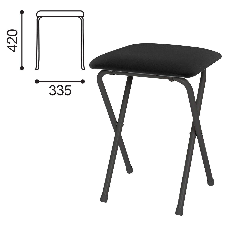 Folding PC01-02 stool, black frame, black leather