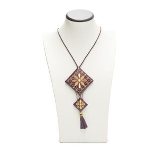 """Pendant """"Fan"""" of purple with gold embroidery"""