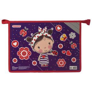 Folder for notebooks PYTHAGORAS A4, cardboard, zipper top, Girl