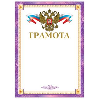 Diploma A4, coated paperboard, hot stamping, foil stamping, purple frame, BRAUBERG