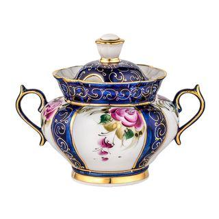 Sugar bowl Orchid overglaze painting, Gzhel Porcelain factory