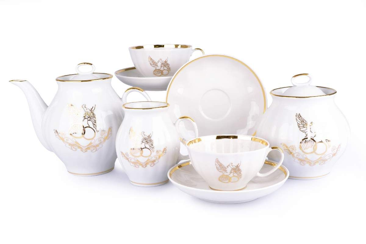 Dulevo porcelain / Tea set 15 pcs. White swan happy wedding