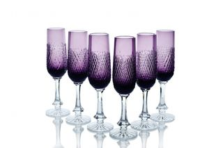 "Set of crystal glasses ""Ball"" purple 6 pieces"