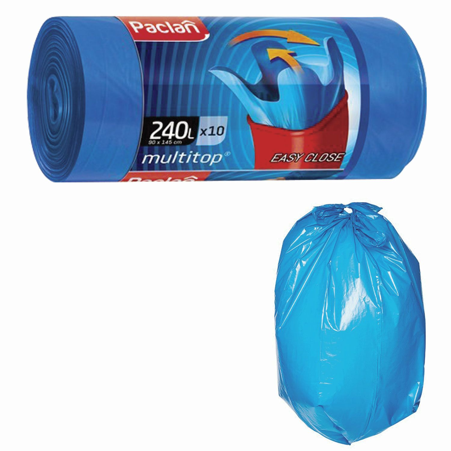 "PACLAN / Garbage bags ""Multitop"" blue with ears, 240 l, LDPE 40 microns, 90x145 cm, roll of 10 pcs."
