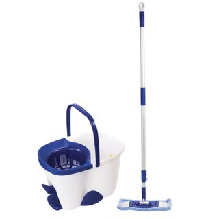 LIMA / Cleaning set - bucket 18 l / 8 l with wringer and pedal, mop with round (ring) and flat nozzle