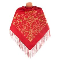 Scarf 'Flowering' red color with Golden embroidery