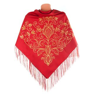 """Scarf """"Flowering"""" red color with Golden embroidery"""
