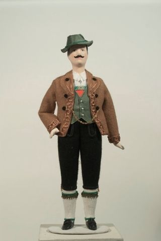 Doll gift. German male costume of the 20th century. Bavaria.