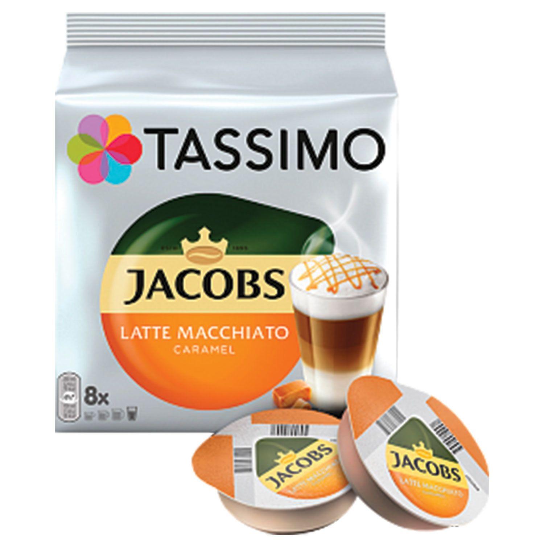 "TASSIMO / Capsules for coffee machines JACOBS ""Latte Macchiato Caramel"" natural coffee 8 pcs. x 8 g, milk capsules 8 pcs. x 21.7 g"