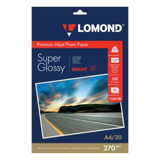 Photo paper inkjet, A4, 270 g/m2, 20 sheets, one-sided super glossy, LOMOND