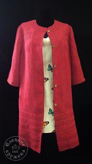 Coat womens linen coral