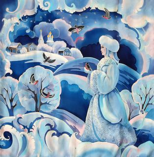 "Silk scarf ""Snow Maiden"""