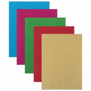 The color CORRUGATED cardboard A4, 5 sheets 5 colors, 300 g/m2, glitter, TREASURE ISLAND