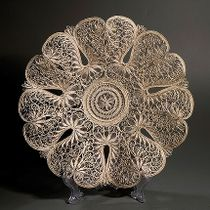 "Plate ""Flowers of Russia"" silvering, Kazakovo Filigree"