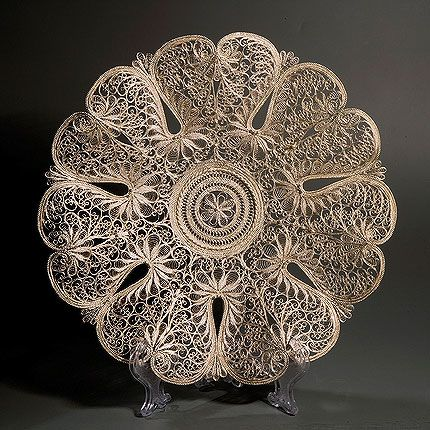 "Kazakov Filigree / Plate ""Flowers of Russia"" silvering"