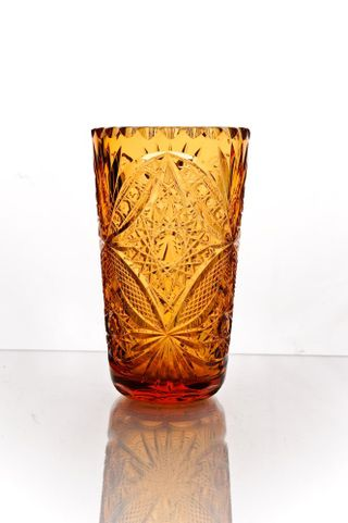 "Crystal vase for flowers ""Vasilisa"" amber"